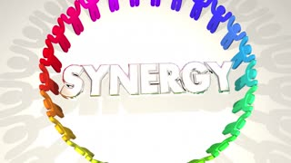 Synergy People Circle Working Together 3 D Animation