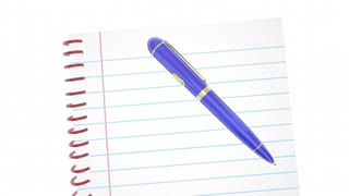 Take Good Notes Pen Writing Words Remember Facts 3 D Animation