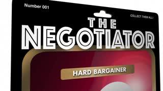 The Negotiator Get Best Deal Drive Hard Bargain Negotiation Action Figure 3 D Animation