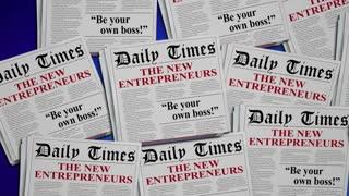 The New Entrepreneurs Start New Business Newspaper Headlines 3 D Animation