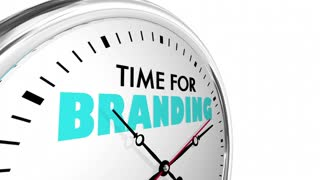 Time For Branding Marketing Identity Clock Words 3 D Animation