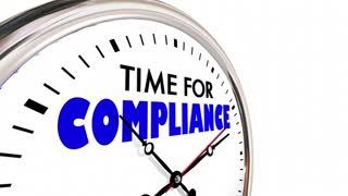 Time For Compliance Follow Rules Deadline Clock Hands Ticking 3 D Animation