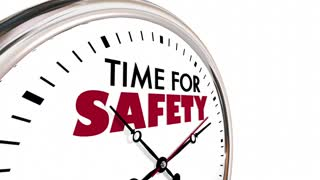 Time For Safety Clock Security Protection Steps 3 D Animation