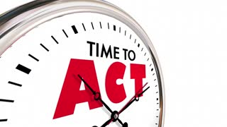 Time To Act Take Action Move Forward Clock Hands Ticking 3 D Animation