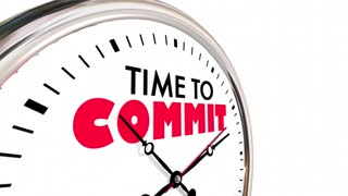 Time To Commit Vow Promise Follow Through Clock 3 D Animation