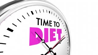 Time To Diet Lose Weight Eat Less Clock Words 3 D Animation