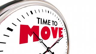 Time To Move Relocate Get Moving Clock Hands Ticking 3 D Animation