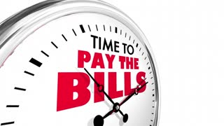 Time To Pay The Bills Payment Due Clock Words 3 D Animation