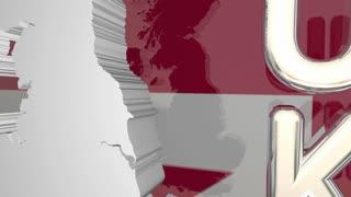 United Kingdom Uk England Great Britain Map Europe 3 D Animation