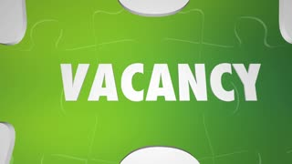 Vacancy Fill It Job Opening Puzzle Words 3 D Animation
