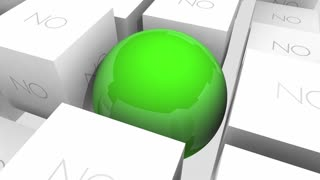 Yes Or No Positive Vs Negative Answer Response Sphere In Cubes 3 D Animation