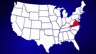 Virginia VA United States of America 3d Animated State Map