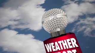 Weather Report Microphone Cloudy Sky Update News 3d Animation