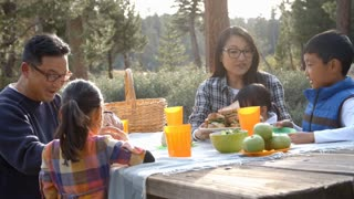 Asian family sharing picnic food at an outdoor table