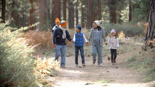 Asian family walk towards camera in a forest, front view