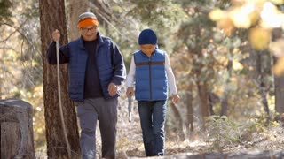 Asian father and son hiking together in a forest