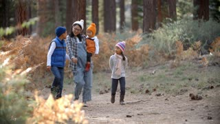 Asian mother with three children walking in a forest
