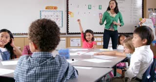 Asian woman teaching young kids in elementary school class
