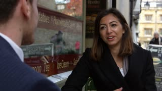 Business Colleagues Talking Outside Coffee Shop Shot On R3D