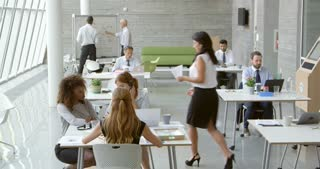 Businesspeople Working At Desks In Modern Office Shot On R3D