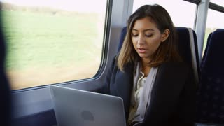 Businesswoman Using Laptop And Phone On Train Shot On R3D