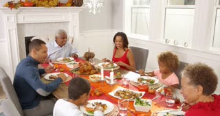 Camera tracks down to show extended family sitting around table for Thanksgiving meal