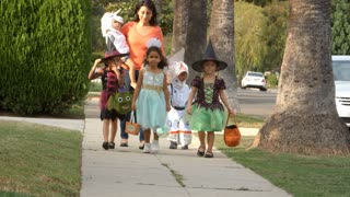 Children In Halloween Costumes Trick Or Treating Shot On R3D