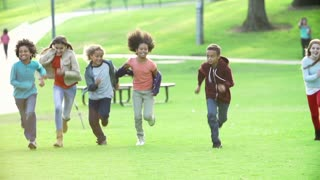 Children Running Towards Camera In Slow Motion