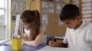 Close Up Of Pupils Working At Desks In Classroom Shot On R3D