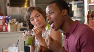 Couple Enjoying Lunch In Restaurant Shot On R3D