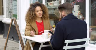 Couple Outside Cafe Enjoying Coffee And Snack Shot On R3D