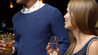 Couples Dancing And Drinking At Evening Party, Slow Motion