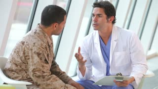 Doctor Meeting Soldier Suffering From Depression