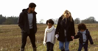 Family Walking In Winter Countryside Shot On R3D