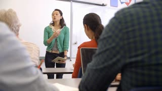 Female Asian teacher taking an adult education class
