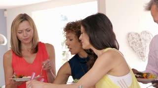 Female Friends Enjoying Buffet At Dinner Party Shot On R3D
