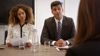 Female Job Candidate Being Interviewed In Office Shot On R3D