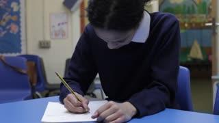 Female Pupil Working At Desk