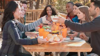 Friends passing food around the table at barbecue, lockdown