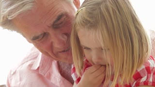 Granddaughter Reading Book With Grandfather