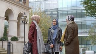 Group Of British Muslim Businesswomen Outside Office
