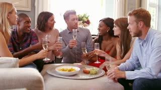 Group Of Friends Celebrating Together At Home Shot On R3D
