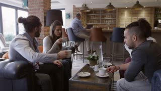Group Of Friends Meeting For Coffee In Bar Shot On R3D