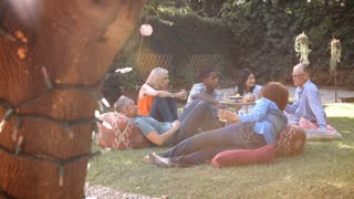 Group Of Mature Friends Enjoying Picnic In Backyard Together