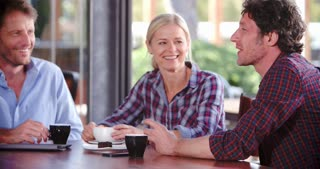 Group Of Mature Friends Sitting In Coffee Shop Chatting