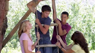 Group Of Teenagers Playing On Rope Ladder