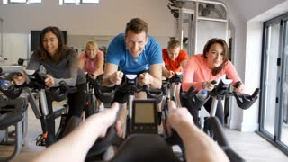 Instructor�s POV of spinning class at a gym