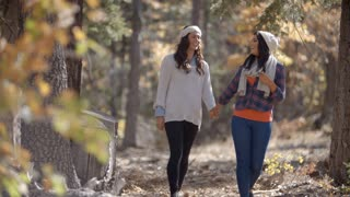 Lesbian couple in a forest holding hands walk towards camera