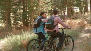 Male couple touch while cycling through a forest, back view