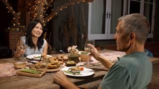 Mature Couple Enjoying Outdoor Meal In Backyard